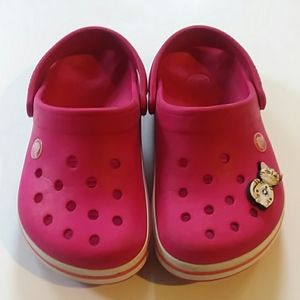 Pink Crocs with Crocband size kids 1 EUC